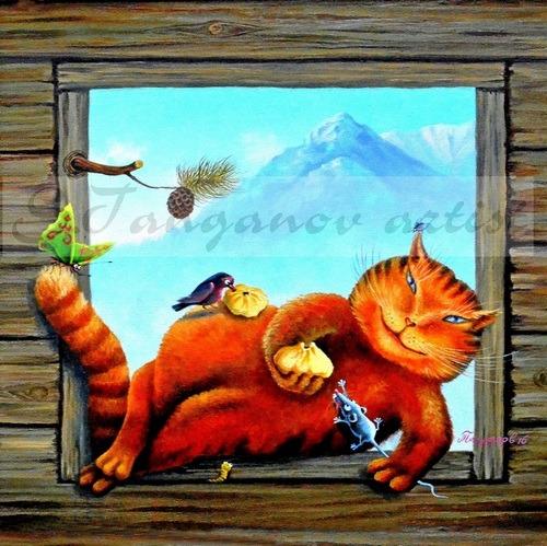 «Бурятский котик Бадмаич», холст, масло, 2016