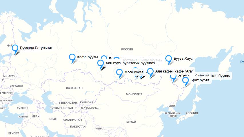 Карта буузных России